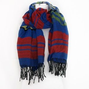 Accessories - Red Blue Green Yellow Patterned Fringe Scarf